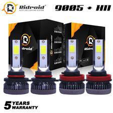4-Pack Combo 9005 H11 LED Headlight Conversion Kit High Low Beam Bulbs 6000K