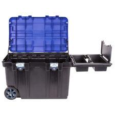 "30.5"" Black Plastic Lockable Wheeled Tool Box Storage Large Portable Organizer"