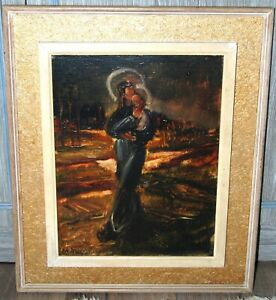 """Early 20th/C Expressionist Painting """"Madona & Child"""" by Max Broeder"""