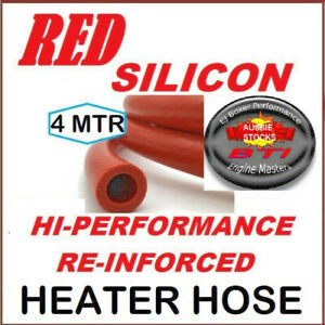 HI PERF. HEATER HOSE SILICON RED REINFORCED 12MM ID 1 length x 4MTR- POST FREE!