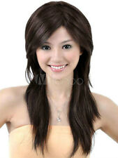 100% Real hair! New Fashion sexy women's long Dark Bown Human Hair Wigs