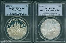New listing 2002-W West Point Bicentennial Silver Dollar Pcgs Ms69 Pf69 Pr69 2-Coins Set !