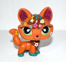 Littlest Pet Shop Animal Green Eyes Sparkle Flower Brown Fox Figure Child Toy