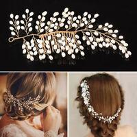 Women Bridal Wedding Headband Crystal Rhinestone Pearl Hair Comb Hair Band Gift
