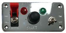 Chrome Racing Car 12V Toggle Ignition Switch Panel Push Button Engine Start LED