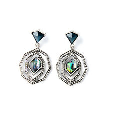 New Alpenglow Statement Drop Earrings Brand Blue Pearl Inlay + Elegant Sapphire