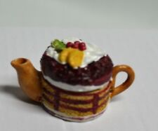 Miniature Teapot shaped as Round Fruit Cake