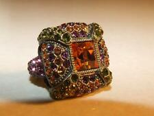 VTG Heidi Daus Multi Color Swarovski Crystal Citrine Cocktail Ring Size 6