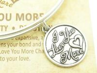 Wind and Fire I Love You More Charm Gold Wire Bangle Stackable Bracelet Gift