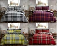 Luxury Flannel Tartan Check Duvet Set 100% Brushed Cotton Duvet/Quilt Cover Set