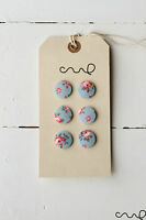 6 x Handmade Cath Kidston Fabric Covered Buttons 19mm Hampton Rose Blue Floral