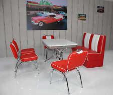 Bank Stuhlgruppe Vegas King 6 American Diner 50er Jahre Retro 6 teilig Rot Weiß