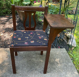 Antique Telephone Table Gossip Chair Hall Bench Harp Lyre Vintage