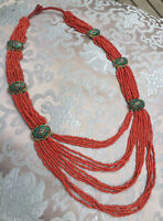Sehr schöne mehrreihige Kette aus NEPAL: Koralle + Türkis-Beads