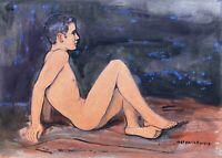 Mario Barone 1902 Giovane Maschile Nudo Am Strand Seitenprofil 1969