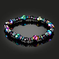 Men's Womens Rainbow Hematite Magnetic Natural Black Stone Healing Bead Bracelet