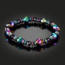 Men's Womens Rainbow Hematite Magnetic Natural Black Stone Healing Bead Bracelet