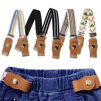 Boys Girls Buckle Free Stretch Belt Jeans Waistband Waist Belt Adjustable TERHB
