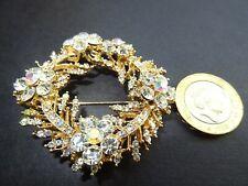 Gold wreath brooch diamante rhinestones crystal pin jewellery