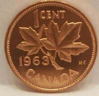 1963 Canada Proof-Like 1 Cent Cut From Mint Set (Untouched Still Sealed)