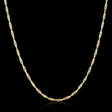 """20"""" inch Men Women Necklace Chain Fashion Luxury Water Wave 1.5mm Yellow Gold"""