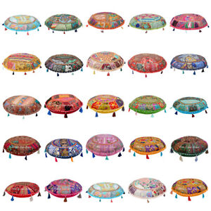 """Indian Patchwork Cotton Floor Cushion Cover Hippie Cotton Embroidery Pillows 22"""""""