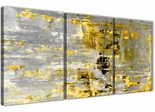 Yellow Abstract Painting Art Print Canvas - Split 3 Piece - 125cm Wide - 3357