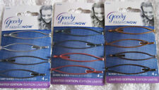 4 Goody Stretched Open Oval Bobby Slide Hair Pins Slides Glittery Silver Bronze
