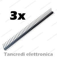 3x Connettori strip line 40 pin maschio angolo 90° 6mm separabili header piegato
