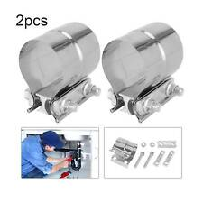 """2pcs Stainless Lap Joint Clamp Sleeve Band For 2.5"""" 2 1/2"""" Exhaust OD Pipe"""