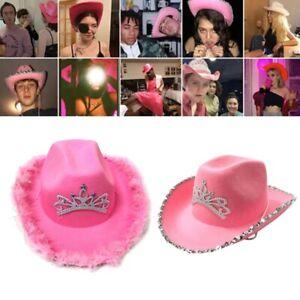 Adult Cowboy Hat Wide Brim Tiara Crown Feathers Pink Party Western Costume Cap