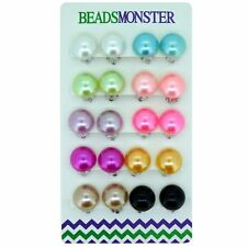 14mm Color Faux Pearl Bead Clip on Earrings Gift for Little Teen Girls Womens