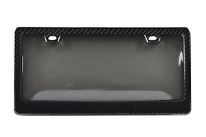 GENUINE 100% CARBON FIBER LICENSE PLATE FRAME TAG COVER 3K With Tinted Cover