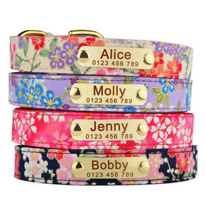 Flower Dog Collar Personalised Leather ID Collars Engraved Name Tag XS S M L