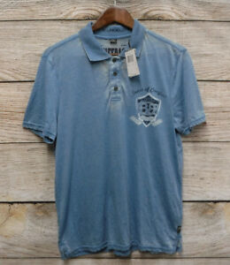 Buffalo David Bitton Shirt Mens Size Small Blue Thin H. York Knit Polo Shirt New