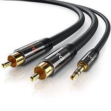 Cavo 2x RCA a 3.5 mm Jack Audio AUX, Spinotto in metallo pieno, 2 metri