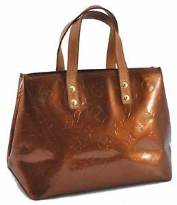 Authentic Louis Vuitton Vernis Reade PM Hand Bag Brown M91146 LV D9444