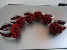 BELLISSIMO NATALE Portatovaglioli ad anello Set di 6 Berry Portatovaglioli titolari NUOVO Anni Vigilia