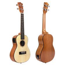 23 Inch Top Spruce Electric Acoustic Concert Ukulele Hawaii Guitar 18 Fret