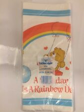 "Vtg Care Bear Paper Tablecover Party - 54"" x 96""  ""A Birthday is a Rainbow Day"""