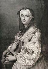 Marie Leszczynska Leczinska Reine Louis XV estampe gravure sur acier XIXe France