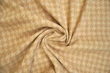 Schurwolle Pepita Muster Wollstoff Anzug Sakko Blazer Rock Stoff Beige Weiss