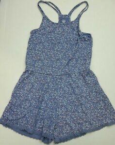 Old Navy Girls Romper Size L 10 12 Blue White Paisley Floral Racerback Straps