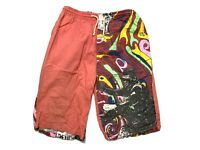 Vintage Mens Board Shorts Size M 3/4 Length Beach 90s Bright Loud Surfing Mambo