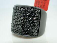 Mens Black On Black Diamonds Pave 21 Mm Band Pinky Ring 4.0 Ct