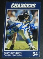 Billy Ray Smith Signed 1990 Police Chargers Team Issued Football Card #10 Auto'd