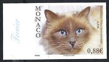 MONACO Non dentelé imperf n° 2671 Exposition féline chat cat, superbe **