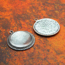 "10 QTY - 25mm 1"" Inch FILIGREE ANTIQUE SILVER Pendant Tray Bezel & DOME GLASS"