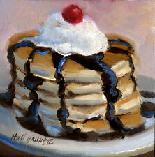 Pancakes with Chocolate Syrup & Cream 6 x6 inOriginal Oil on panel HALL GROAT II