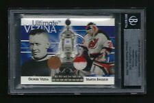 GEORGES VEZINA and MARTIN BRODEUR 2003 2004 BAP Ultimate Memorabilia Card 2/10